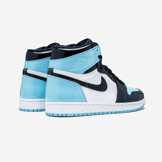"Air Jordan 1 Womens High OG ""UNC Patent Leather"" CD0461 401 Black Obsidian/Blue Chill-White Basketball Shoes"