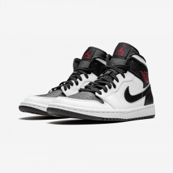Air Jordan 1 Womens Mid BQ6472 101 Black White/Gym Red-Black Basketball Shoes