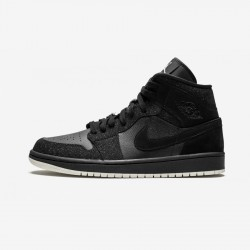 "Air Jordan 1 Womens MID ""Glitter Black"" BQ6472 001 Black Black/Phantom-White Basketball Shoes"