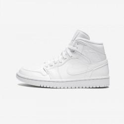 "Air Jordan 1 Womens Mid ""Triple White Patent Leather"" BQ6472 111 White White/White-White Basketball Shoes"