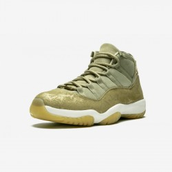"Air Jordan 11 Womens Retro ""Neutral Olive"" AR0715 200 Gold Neutral Olive/Mtlc Stout-Sail Basketball Shoes"