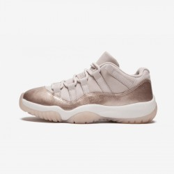 "Air Jordan 11 Womens Retro Low ""Rose Gold"" AH7860 105 Pink Leather And Rubber Sail/Mtlc Red Bronze Basketball Shoes"