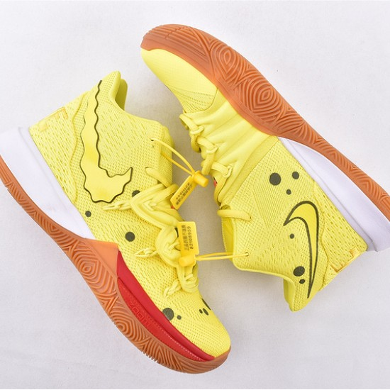 Nike Kyrie 5 Spongebob Basketball Shoes CJ6951-700 Yellow Brown Mens Sneakers