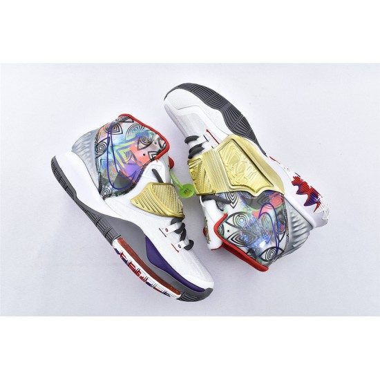 Nike Kyrie 6 Pre Heat Houston Mens Basketball Shoes CN9839-100 White Gold Sneakers