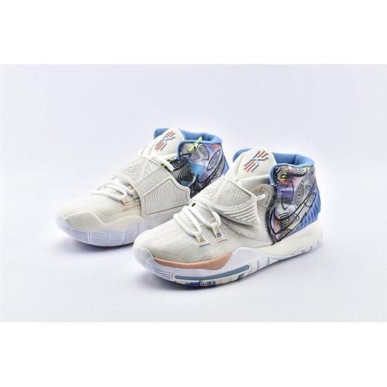 Nike Kyrie 6 Pre Heat Los Angeles Mens White Blue Brown Basketball Shoes