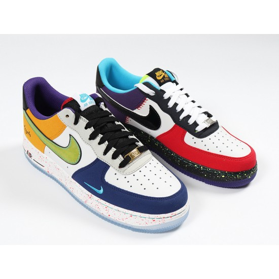 Fashion Nike Air Force 1 Low What The LA Yellow Blue White Unisex ...