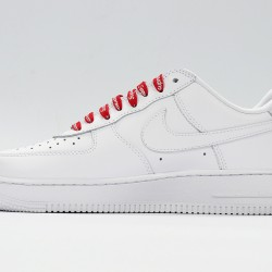 Supreme x Air Force 1 White Red Sneakers CU9225-100 AF1 Unisex Running Shoes