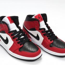 Nike Air Jordan 1 Mid Chicago Black Toe Basketball Shoes Unisex AJ1 Sneakers 554724-069