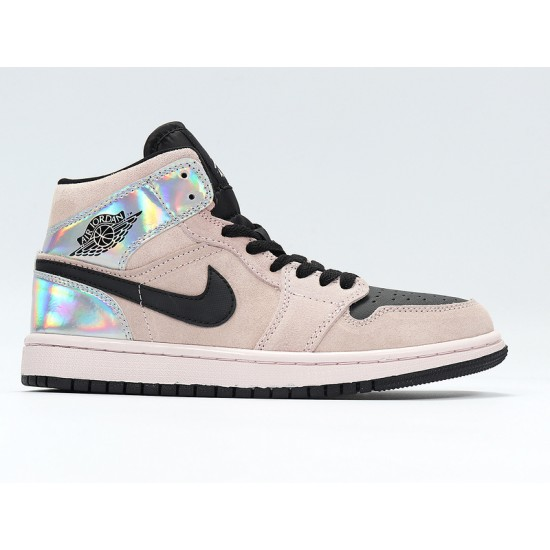 Nike Air Jordan 1 Mid Iridescent Unisex Basketball Shoes BQ6472-602 Brown Black Sneakers