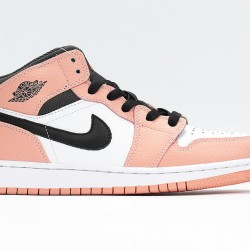 Nike Air Jordan 1 Mid Pink Quartz Unisex Basketball Shoes 555112-603 AJ1 Pink White Black Sneakers