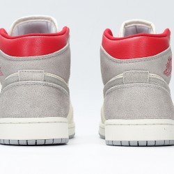 Nike Air Jordan 1 Mid Unisex Basketball Shoes CT3443-100 Gray White Red Sneakers