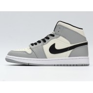 Nike Air Jordan 1 Mid Light Smoke Grey Unisex Basketball Shoes Gray Aj1 Sneakers 554724-092