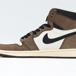 Travis Scott x Nike Air Jordan 1 Brown White Basketball Shoes CD4487-100 AJ1 Unisex Sneakers