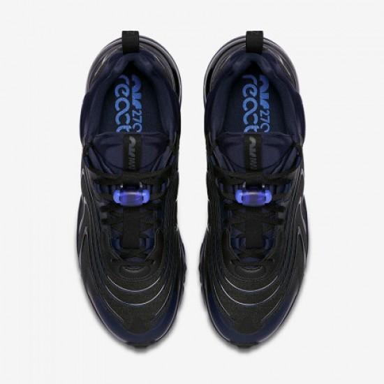 Nike Air Max 270 React Eng Black Blue Mens Running Shoes CD0113 001