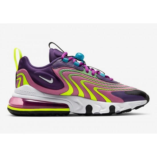 Nike Air Max 270 React Eng Purple Yellow Black Womens Running Shoes CK2595 500