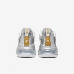 Nike Air Max 270 React Men Sneaker White Gold Silver Running Shoes CQ4597 110
