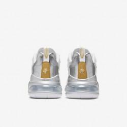 Nike Air Max 270 React Men Sneaker White Gold Silver Running Shoes CQ4597 110