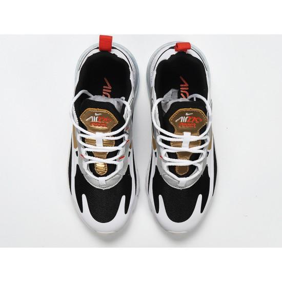 Nike Air Max 270 React Mens Women Sneaker White Black Gold Running Shoes CT3433-001