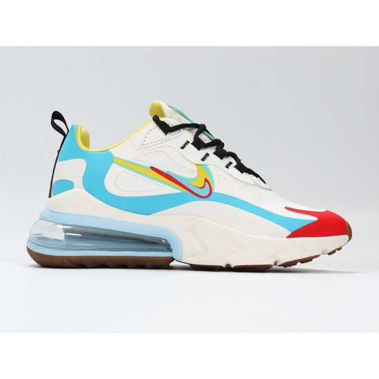 Nike Air Max 270 React Mens Women Sneaker White Blue Red Yellow Running Shoes CT1634-100