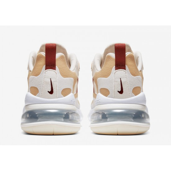 Nike Air Max 270 React Mens Women Sneaker White Brown Deep Wine Running Shoes AT6174 700