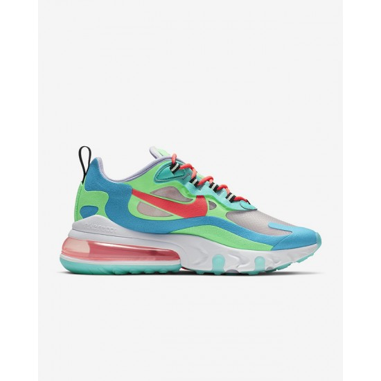Nike Air Max 270 React Women Sneaker Blue Green White Fuchsia Running Shoes AT6174 300