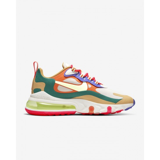 Nike Air Max 270 React Women Sneaker Orange Blue Brown Running Shoes CQ4805 071