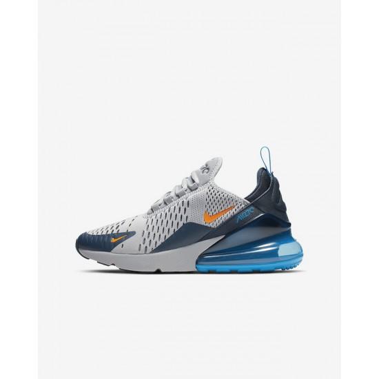 Nike Air Max 270 Mens Running Shoes Gray Orange Blue Sneakers 943345 015