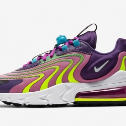 Nike Air Max 270 React Eng Purple Yellow Black Womens Running Shoes CK2595 500