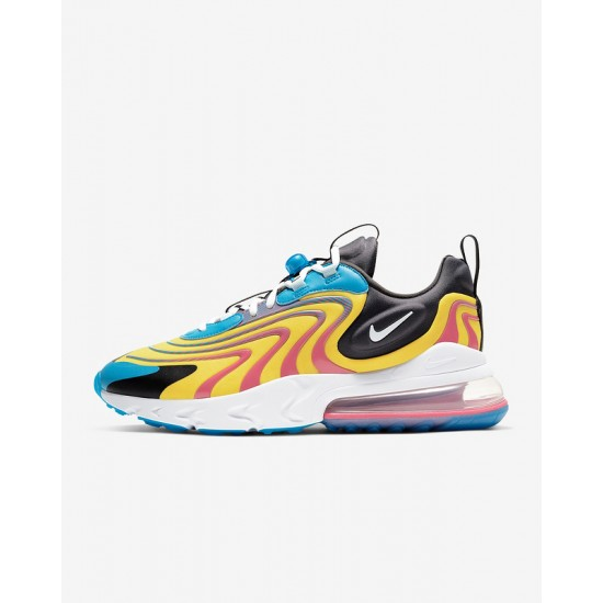 Nike Air Max 270 React Eng Yellow Blue Mens Running Shoes CD0113 400