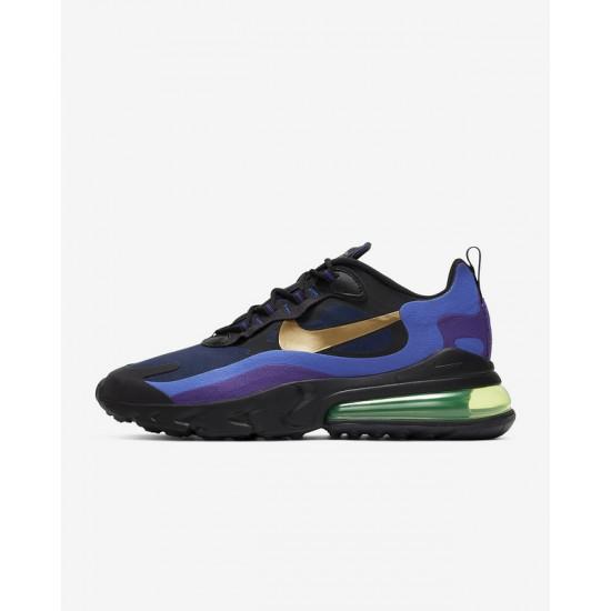 Nike Air Max 270 React Mens Sneaker Black Blue Gold Running Shoes AO4971 005