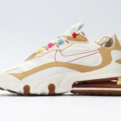 Nike Air Max 270 React Women Sneaker White Brown Pink Running Shoes CQ0208-101