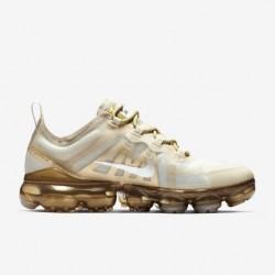 Womens Nike air VaporMax 2019 Gold White Running Shoes AR6632 101