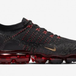 Mens Nike Air VaporMax Flyknit 2 Black Red Gold BQ7036 001