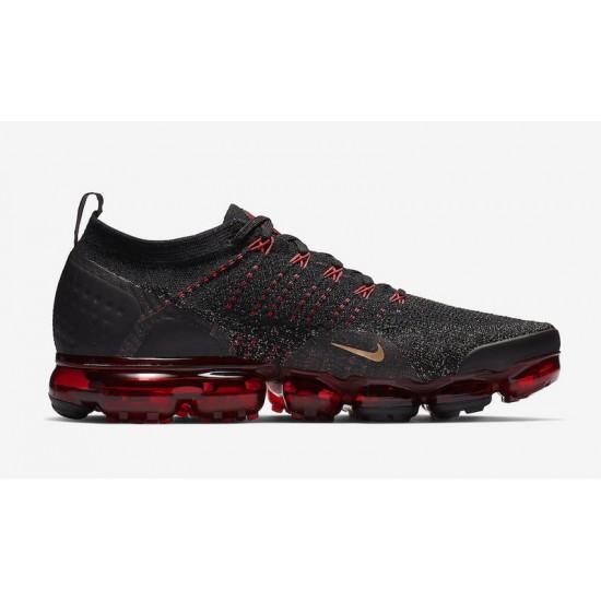 Mens Nike Air VaporMax Flyknit 2 Black Red Gold BQ7036 001