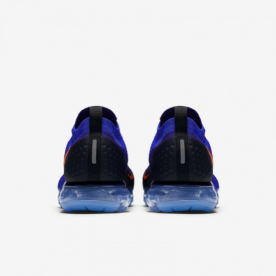 Mens Nike Air VaporMax Flyknit 2 Deep Blue Orange Black Running Shoes 942842 400