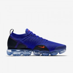 Mens Nike Air VaporMax Flyknit 2 Deep Blue Orange Black Running Shoes 942842 400