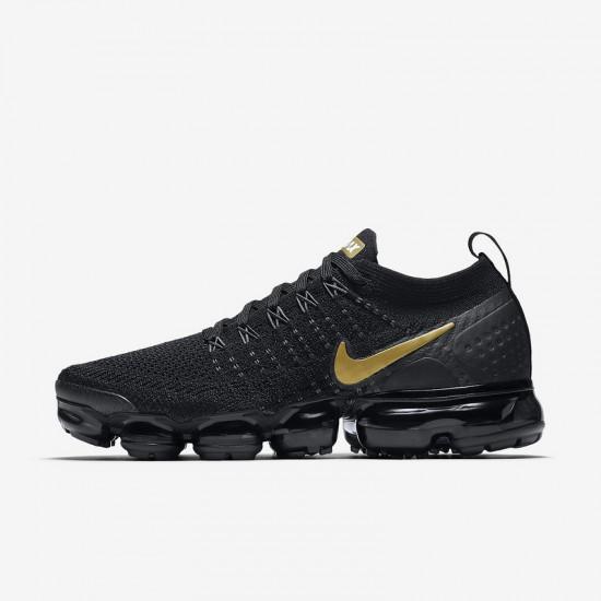 Mens Nike Air VaporMax Flyknit 2 Black Gold Running Shoes 942842 012
