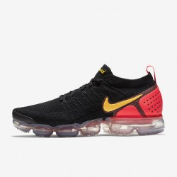 Nike Air VaporMax Flyknit 2 Black Pink Yellow Unisex Running Shoes 942842 005