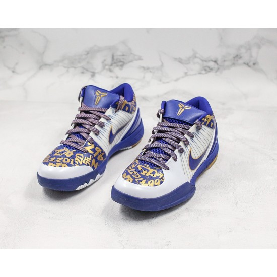 Kobe Bryant 4 Basketball Shoes 354187 141 White Blue Gold Sneakers