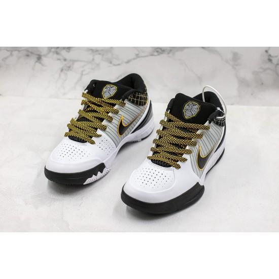 Nike Kobe IV Protro Basketball Shoes AV6339-101 White Black Yellow Sneakers