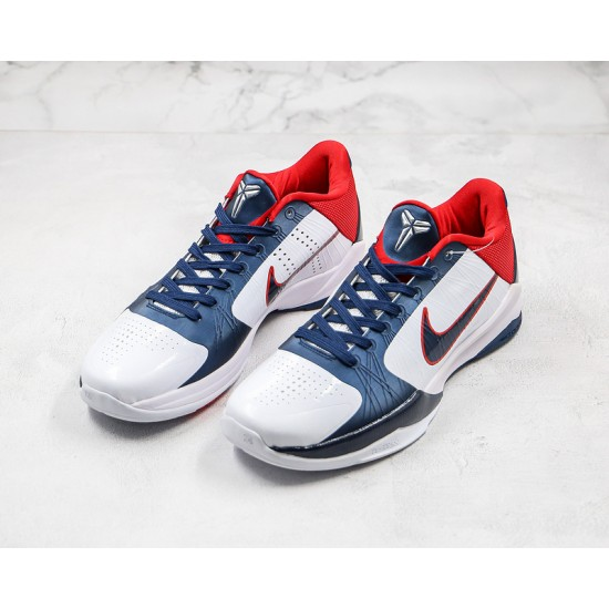 Nike Kobe 5 Protro Mens Basketball Shoes 386430 103 White Blue Red Sneakers