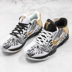 Nike Kobe 5 Protro Mens Basketball Shoes CT8044-100 Black White Gold Sneakers