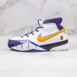 Kobe Bryant Nike Basketball Shoes White Yellow Purple Sneakers