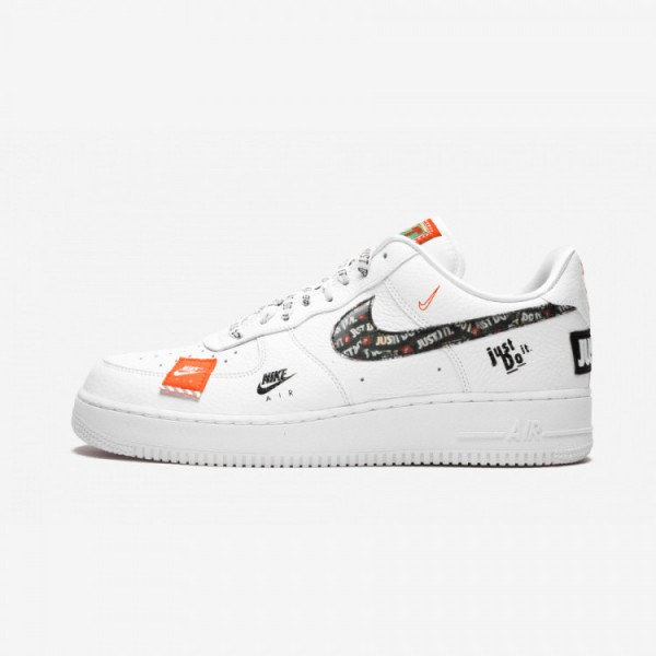 Nike Air Force 1 '07 PRM JDI AR7719 100 Black White/White/Black/Totalorange Running Shoes