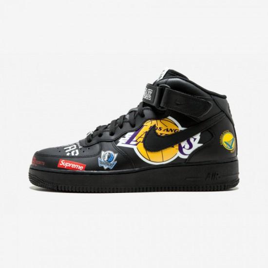 "Nike Air Force 1 Mid '07 Supreme ""NBA"" AQ8017 001 Black Black/Black Running Shoes"
