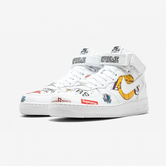 "Nike Air Force 1 MID 07 / Supreme ""NBA"" AQ8017 100 White White/White Running Shoes"