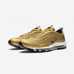 "Nike Air Max 97 IT ""Italy"" AJ8056 700 Gold Metallic Gold /Varsity Red Running Shoes"