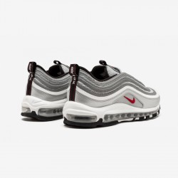 "Nike Air Max 97 OG QS ""Silver Bullet"" 884421 001 Black Metallic Silver/Varsity Red Running Shoes"