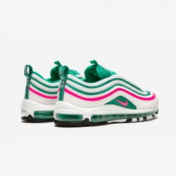 "Nike Air Max 97 ""South Beach"" 921826 102 Green White/Pink Blast-Kinietic Gree Running Shoes"