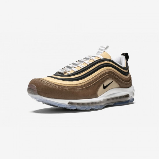 """Nike Air Max 97 """"Unboxed - Bar Code"""" 921826 201 Brown Ale Brown/Black-Elemental Gold Running Shoes"""